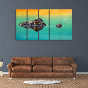 Multiple Frames Beautiful Crocodile Wall Painting for Living Room, Bedroom, Office, Hotels, Drawing Room (150cm x 76cm)