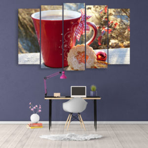 Multiple Frames Beautiful Cup Wall Painting for Living Room, Bedroom, Office, Hotels, Drawing Room (150cm x 76cm)