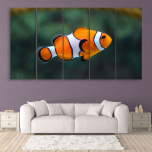 Multiple Frames Beautiful Fish Wall Painting for Living Room, Bedroom, Office, Hotels, Drawing Room (150cm x 76cm)