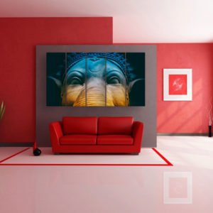 Multiple Frames Beautiful Lord Ganesha Wall Painting for Living Room, Bedroom, Office, Hotels, Drawing Room for Living Room, Bedroom, Office, Hotels, Drawing Room (150cm x 76cm)