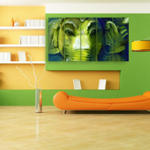 Multiple Frames Beautiful Lord Ganesha Art Wall Painting for Living Room, Bedroom, Office, Hotels, Drawing Room (150cm x 76cm)