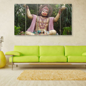 Multiple Frames Beautiful Lord Hanuman Wall Painting for Living Room, Bedroom, Office, Hotels, Drawing Room (150cm x 76cm)