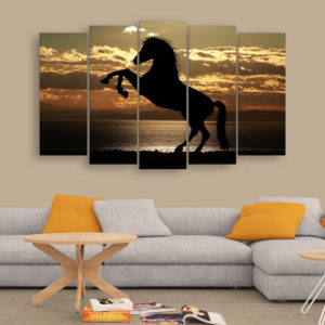 Multiple Frames Beautiful Horse Wall Painting for Living Room, Bedroom, Office, Hotels, Drawing Room (150cm x 76cm)