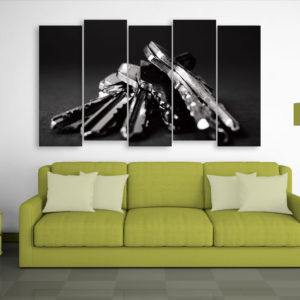 Multiple Frames Beautiful Keys Wall Painting for Living Room, Bedroom, Office, Hotels, Drawing Room (150cm x 76cm)
