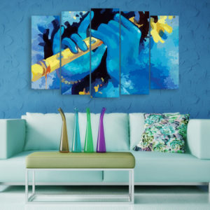 Multiple Frames Beautiful Krishna Flute Wall Painting for Living Room, Bedroom, Office, Hotels, Drawing Room (150cm x 76cm)