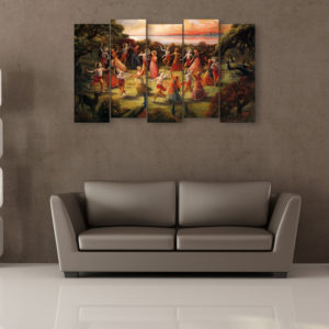 Multiple Frames Beautiful Krishna Gokul Wall Painting for Living Room, Bedroom, Office, Hotels, Drawing Room (150cm x 76cm)