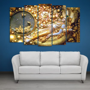 Multiple Frames Beautiful Krishna Wall Painting for Living Room, Bedroom, Office, Hotels, Drawing Room (150cm x 76cm)