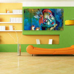 Multiple Frames Beautiful Krishna Art Wall Painting for Living Room, Bedroom, Office, Hotels, Drawing Room (150cm x 76cm)