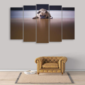 Multiple Frames Beautiful Dog Wall Painting for Living Room, Bedroom, Office, Hotels, Drawing Room (150cm x 76cm)