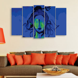 Multiple Frames Beautiful Lord Shiva Wall Painting for Living Room, Bedroom, Office, Hotels, Drawing Room (150cm x 76cm)