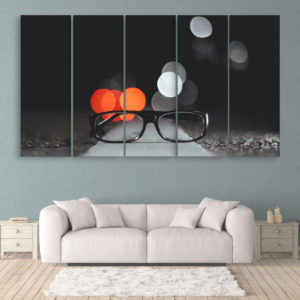 Multiple Frames Beautiful Glasses Wall Painting for Living Room, Bedroom, Office, Hotels, Drawing Room (150cm x 76cm)